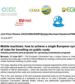 One EU system for mobile machines on public roads
