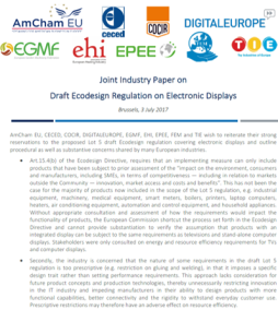 Joint paper on electronic displays (Ecodesign)
